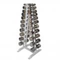 Гантельный ряд АТЛАНТ на 10 пар от 1 до 10 кг с шагом 1 кг со стойкой в комплекте